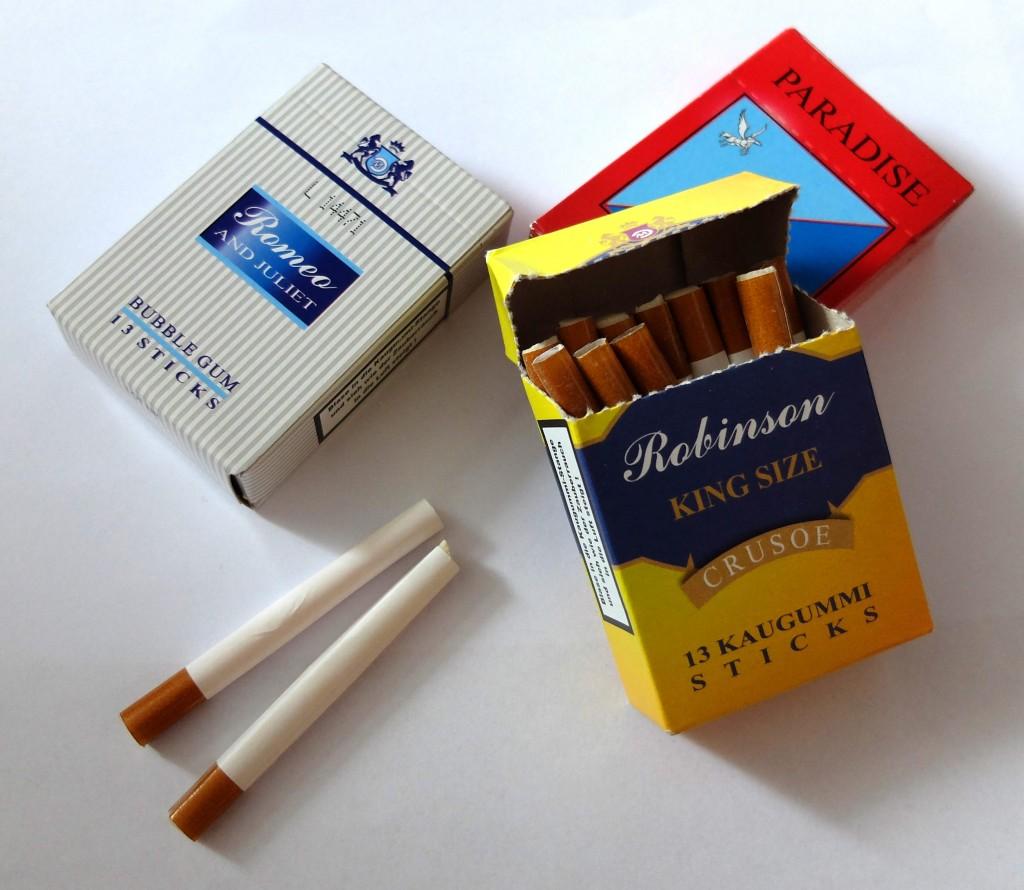 Les boîtes de cigarettes chewing-gum